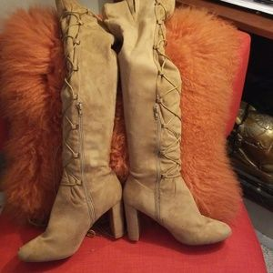 Shoes - Over the knee faux suede boots sz 10